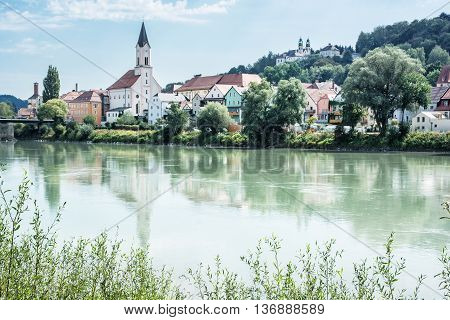 Saint Gertraud church and Sanctuary Mariahilf on the hill in Passau Germany. Cultural heritage. Religious architecture. Beautiful place. Old houses. Architectural theme.