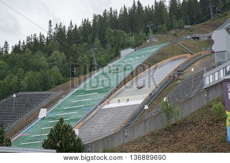 LILLEHAMMER, NORWAY - CIRCA JUNE 2016: Winter Ski Jumping Springboard in Lillehammer, Norway.