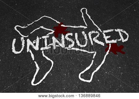 Uninsured Medical Insurance Accident Injury Chalk Outline Illustration