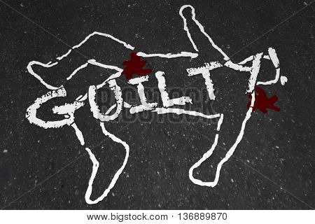 Guilty Crime Suspect Dead Body Murder Chalk Outline Illustration