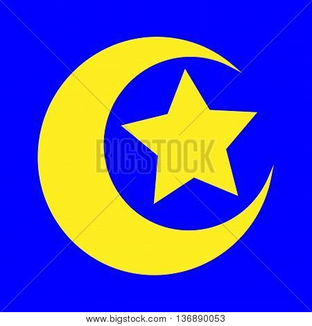 Sign moon and star. Yellow icon isolated on blue background. Logo for goodnight. Colorfull light silhouette. Islamic symbol. Emblem of muslim. Stock vector illustration
