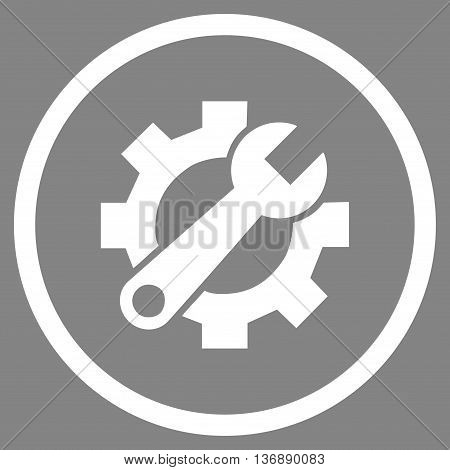 System Preferences vector icon. Image style is a flat icon symbol inside a circle, white color, gray background.