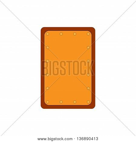 Sign shield gold. Rectangle protection icon isolated on white background. Flat mark. Symbol of a bronze guard. Colorful element. Logo for military and security. Stock vector illustration