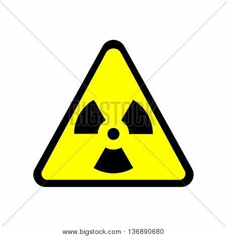 Sign toxic. Warning radioactive zone in triangle icon isolated on white background. Color radioactivity image. Dangerous radiation area symbol. Chemistry poison plane mark. Stock vector illustration