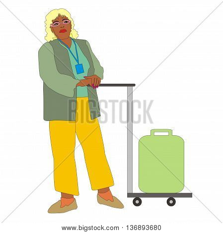 Illustration woman traveler with trolley bags isolated on white background