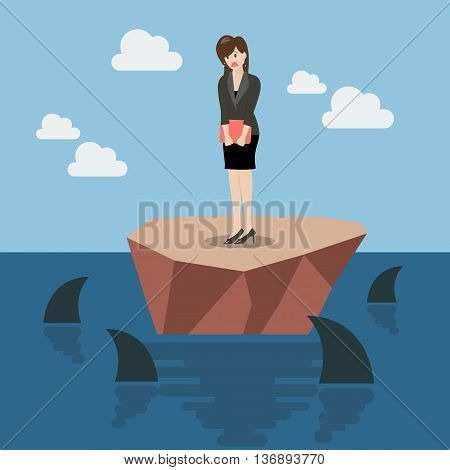 Helpless business woman on a small island which surrounded by sharks. Business concept