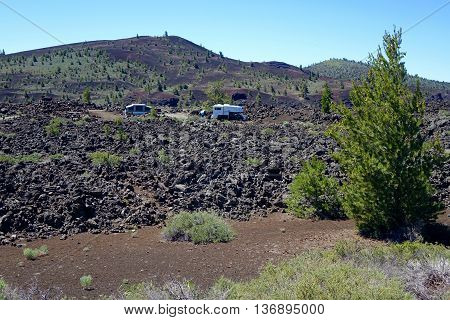 Rough camping in Idaho's Craters of the Moon National Monument.