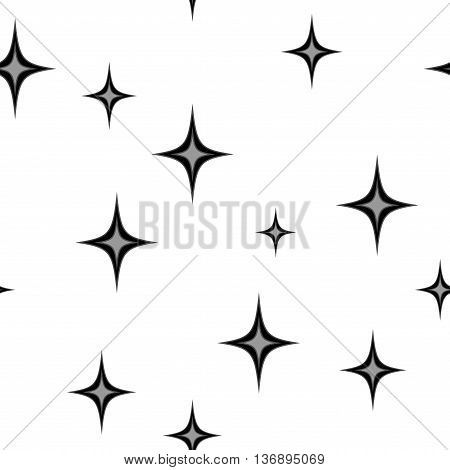 Stars chaotic seamless pattern. Fashion graphic background design. Modern stylish abstract texture. Monochrome template for prints textiles wrapping wallpaper website etc Stock VECTOR illustration