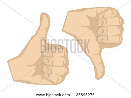 Thumbs up and thumbs down hand gesture isolated on white background.