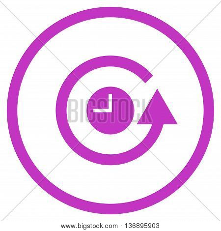 Restore Clock vector icon. Image style is a flat icon symbol inside a circle, violet color, white background. poster