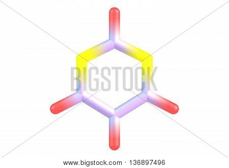 Pyrimidine is an aromatic heterocyclic organic compound similar to pyridine. One of the three diazines it has the nitrogens at positions 1 and 3 in the ring. 3d illustration