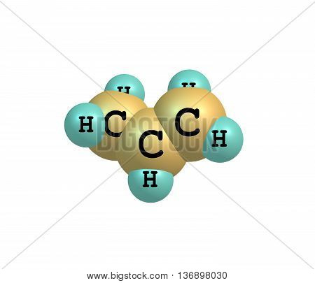 Propene - propylene methylethylene - is an unsaturated organic compound having the chemical formula C3H6. 3d illustration