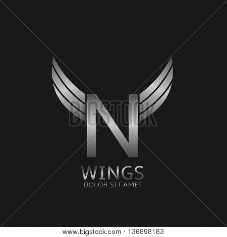 N letter logo. Silver wings symbol. Silver N letter logo template for air company