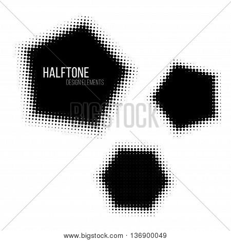Black halftone design elements. Stock vector illustration