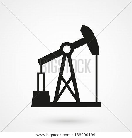 Oil Pump Jack Icon On White Background In Flat Style. Simple Vector Illustration