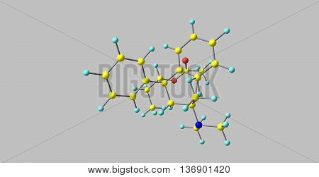Betacetylmethadol is a synthetic opioid. It is a diastereoisomer of alphacetylmethadol. 3d illustration