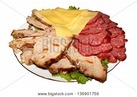 Meat sliced on a platter for the festive table