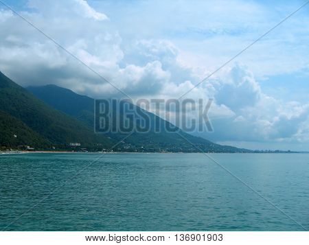 Mountains with clouds on the Black Sea coast of Abkhazia