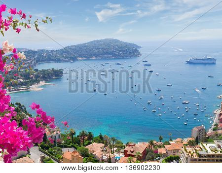 landscape of riviera coast, turquiose water and blue sky of cote dAzur at sunny summer day, France