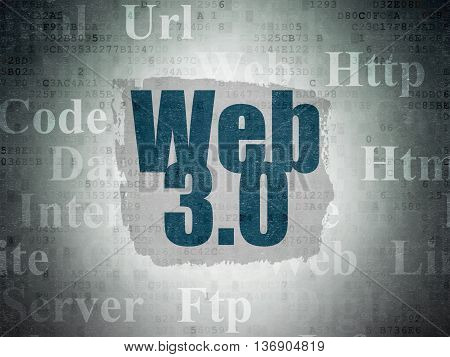 Web development concept: Painted blue text Web 3.0 on Digital Data Paper background with   Tag Cloud