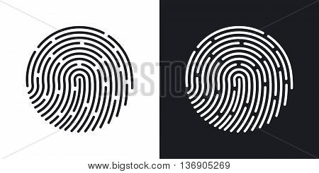 Vector Fingerprint Icon. Two-tone Version Of Fingerprint Simple Icon On Black And White Background