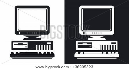Vector Retro Computer Icon With Keyboard And Crt Monitor Icon. Two-tone Version Of Old Computer Icon