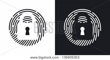 Vector Touch Id Fingerprint Icon. Two-tone Version Of Touch Id Fingerprint Simple Icon On Black And