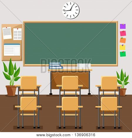 Vector flat illustration of classroom at the school School classroom with chalkboard and desks.