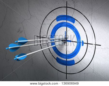 Success timeline concept: arrows hitting the center of Blue Watch target on wall background, 3D rendering
