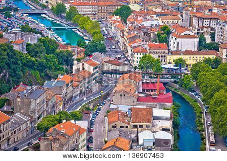 Town of Rijeka and Rjecina river view Kvarner Croatia