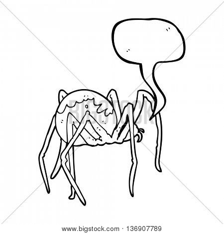 freehand drawn speech bubble cartoon creepy spider poster