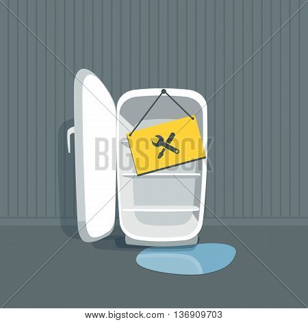 Opened empty broken fridge with water flowing out. Freezer is standing in front of the wall in the room. Sign board with maintenace icon hanging on the fridge. Vector illustration in cartoon style.