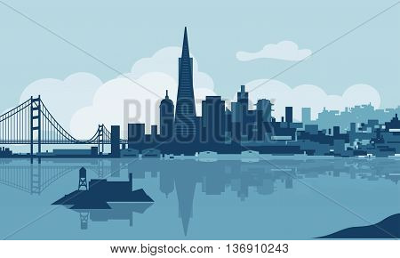 Vector skyline of the city of San Francisco