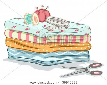 Illustration of Sewing Materials Sitting on Top of a Pile of Fabric