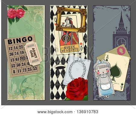 Wonderland Vertical Banners, with gold frame, red rose, Queen of Hearts playing card, bingo card, vintage ticket, girl paper cutout and Big Ben