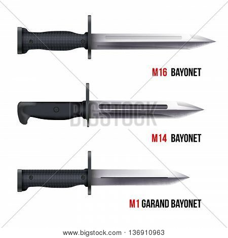 Bayonet Knives for different american rifles. Military Vector Illustration isolated on white background.