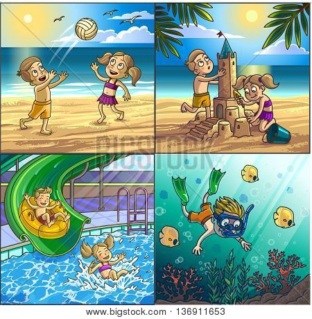 Summer fun on beach. Children are playing on seaside playing volleyball, building sand castle, diving. Water hills in an aquapark. Vector Illustration.