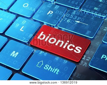Science concept: computer keyboard with word Bionics on enter button background, 3D rendering