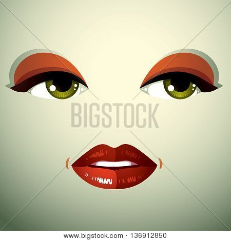 Attractive woman with stylish bright make-up. Sexy Caucasian distrustful lady. Human eyes and lips reflecting emotions doubt.