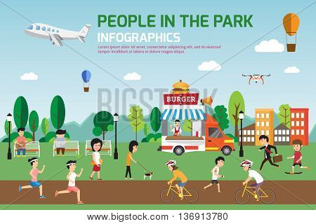 Rest in the park infographic elements flat vector design. People spend time relaxing and various activities in nature that have food truck. vector illustration.