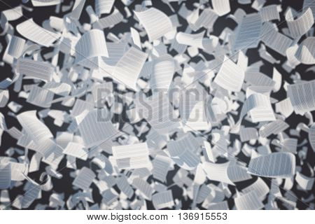 Flying paper sheets with text on dark background. 3D Rendering