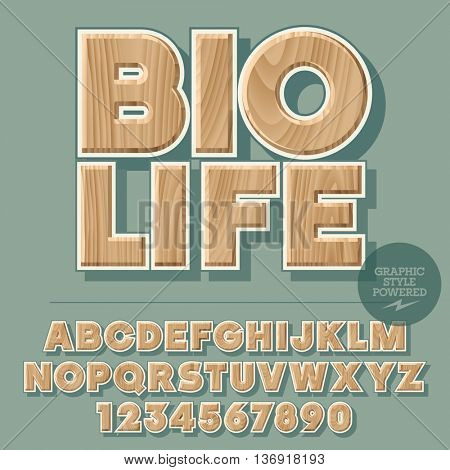 Vector set of alphabet letters, numbers and punctuation symbols. Wooden sign for ecology activity with text Bio life