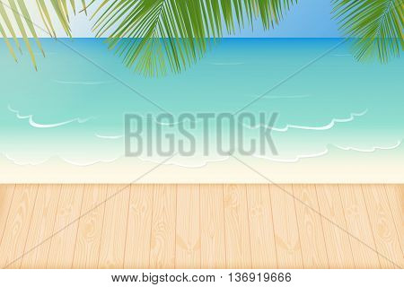 Paradise white sandy beach lapped by the waves of crystal clear blue sea natural wooden decking and palm tree leaves vector illustration