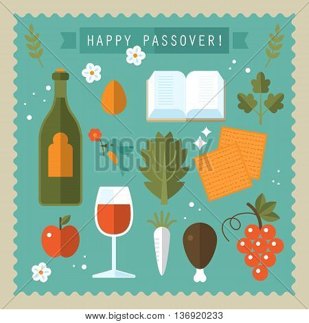Jewish holiday celebration of Passover seder flat icons