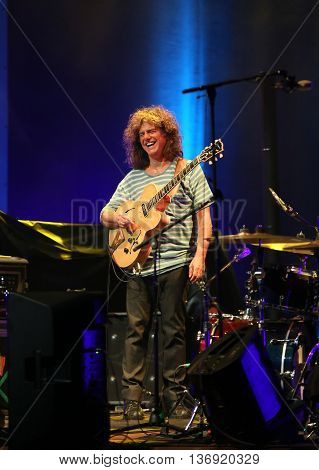 CRACOW POLAND - JUNE 26 2016: Pat Metheny playing on acoustic guitar at Summer Jazz Festival in Cracow Poland.