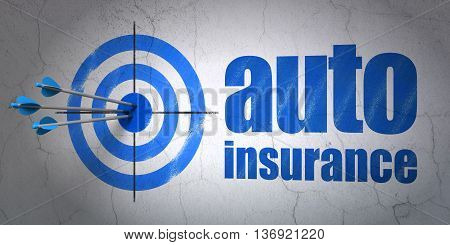 Success Insurance concept: arrows hitting the center of target, Blue Auto Insurance on wall background, 3D rendering