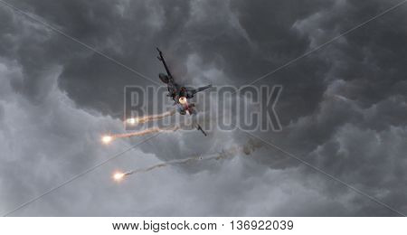 Military Jet Firing Of Flares