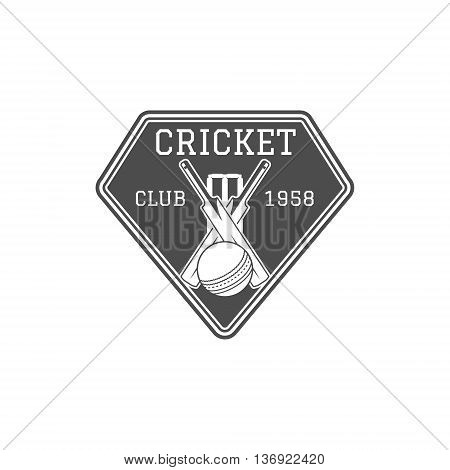 Cricket club emblem and design elements. Cricket team logo design. Cricket stamp. Sports fun symbols with cricket equipment - bats, ball. Use for web design, tee design or print on t-shirt Monochrome