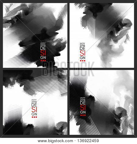 Abstract Ink Decoration Set. Splatter Border Design. Ink Splatter Decoration. Abstract Ink Border. Splatter Decoration Design. Vector Illustration.