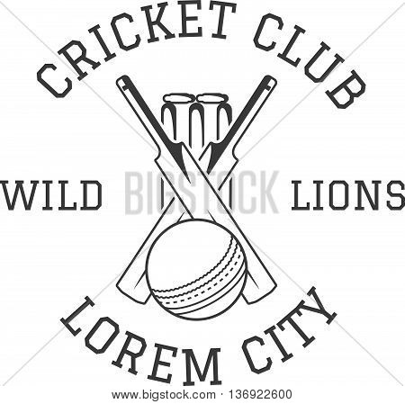 Cricket club emblem and design elements. Cricket club logo design. Cricket patch. Sports stamp with cricket gear, equipment - bat, ball. Use for web design, tee design or print on t-shirt. Monochrome.